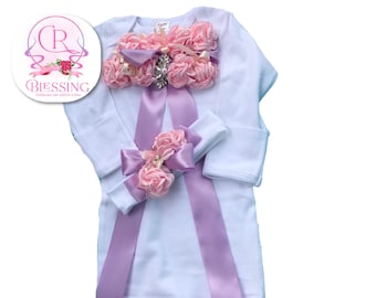 Newborn Girl Take me Home Outfit, Layette gown with headband , pink gown set