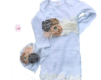 Newborn girl coming home outfit, layette gown, going home gown , turban ,