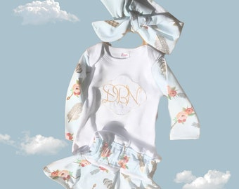 Newborn girl take me home outfit,