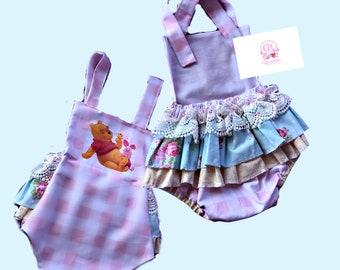 Winnie the Pooh romper girl, Pink Buffalo  plaid  pooh Bear