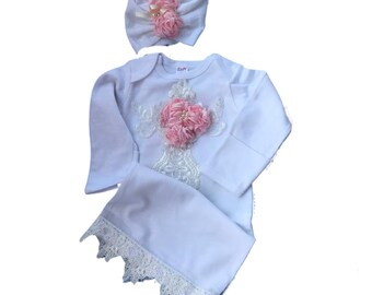 newborn Girl coming home outfit, Infant Layette,  Pink Chiffon flowers with Matching headband