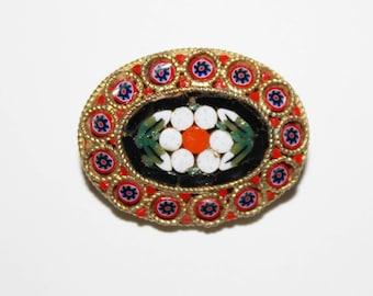 Vintage micro mosaic brooch pin.  Small size. Italian flower brooch