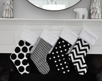 Black and White Christmas Stocking, Personalized, Polka Dot, Chevron, Stripe, Geometric, Black Holiday Decor, no.589 no.082 no.385 no.591