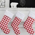 Red Plaid Christmas Stocking Personalized Anderson Check Buffalo Check no.629