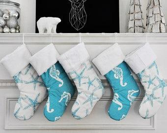 Beach Christmas Stocking, Coastal Christmas, Ocean Stocking, Starfish Decor, Christmas Sea Friends, Seahorse Holiday Decor no.622 no.615