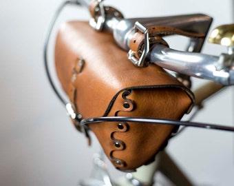 Leather Bicycle Bag, Tool Bag, Bike Seat Bag, leather saddle bag, leather bike bag, leather tool bag, handmade leather bag, bike bag,