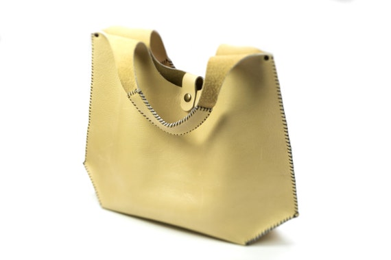 fe61517761 Soft Leather Bag in Cream handmade leather tote top handle