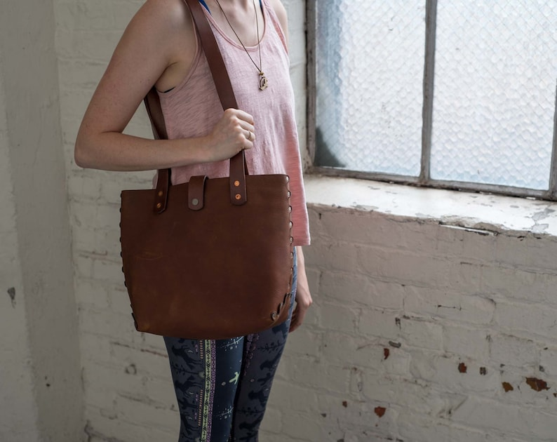 4b0279e689 Leather Handbag Medium Size STITCHED Design Tote Bag