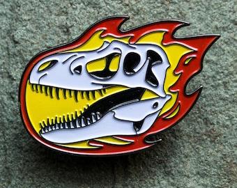 Dinosaur Enamel Pin   Gorgosaurus Skull   Tyrannosaurus   Paleontology lapel pin