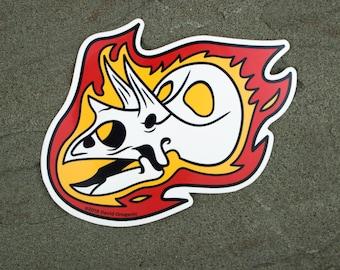 Torosaurus Flaming Dinosaur Skull Sticker | Triceratops sticker | Dinosaur Gift | Vinyl Dinosaur Decal