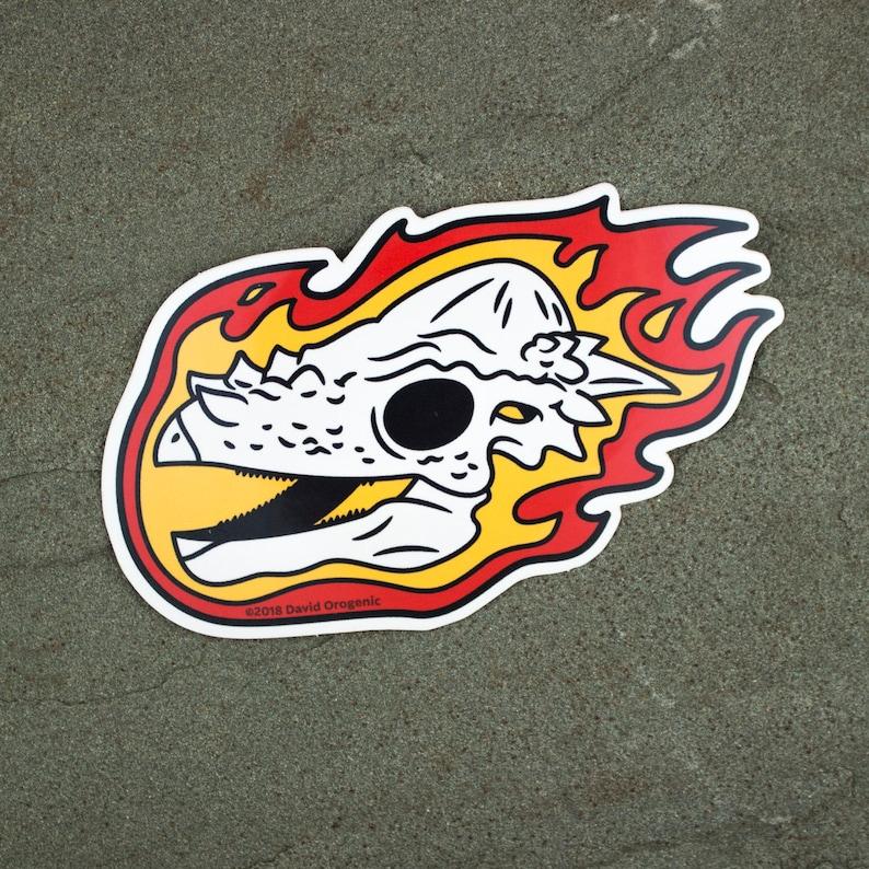 Pachycephalosaurus Flaming Dinosaur Skull Sticker  Dinosaur image 0