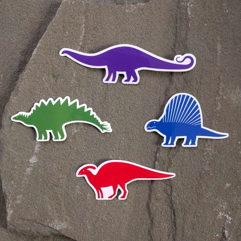 Colorful Dinosaur Stickers  Prehistoric Decal Set  Dinosaur image 0