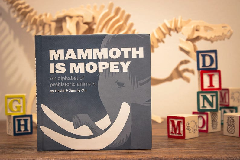 Mammoth is Mopey Hardcover Alphabet Book  Childrens Dinosaur image 0