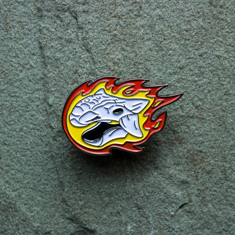 Dinosaur Flaming Skull Enamel Pin  Ankylosaurus badge  image 0