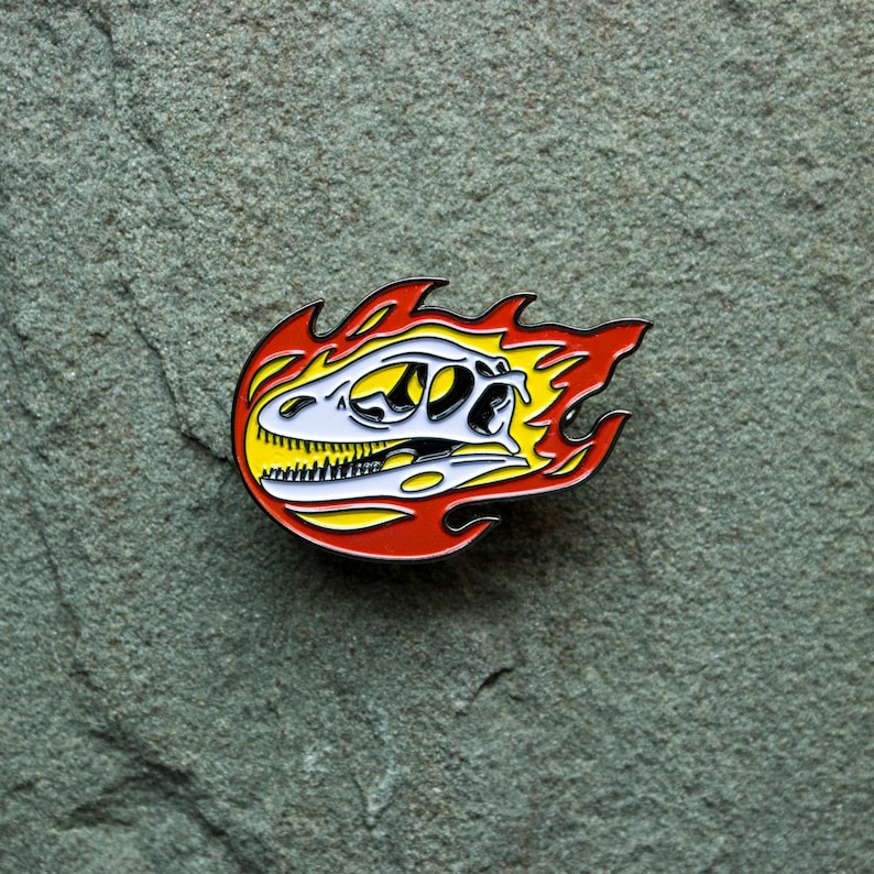 Dinosaur Flaming Skull Enamel Pin  Deinonychus badge  image 0