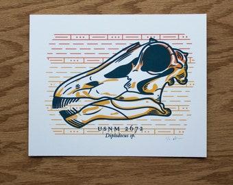 Dinosaur Skull Silkscreen Print   Fossil Art   Paleontology Wall Art   Sauropod Fossil Screen Print   Diplodocus Fossil Print