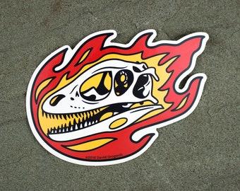 Deinonychus Flaming Dinosaur Skull Sticker | Raptor laptop sticker | Dinosaur Gift | Vinyl Dinosaur Decal