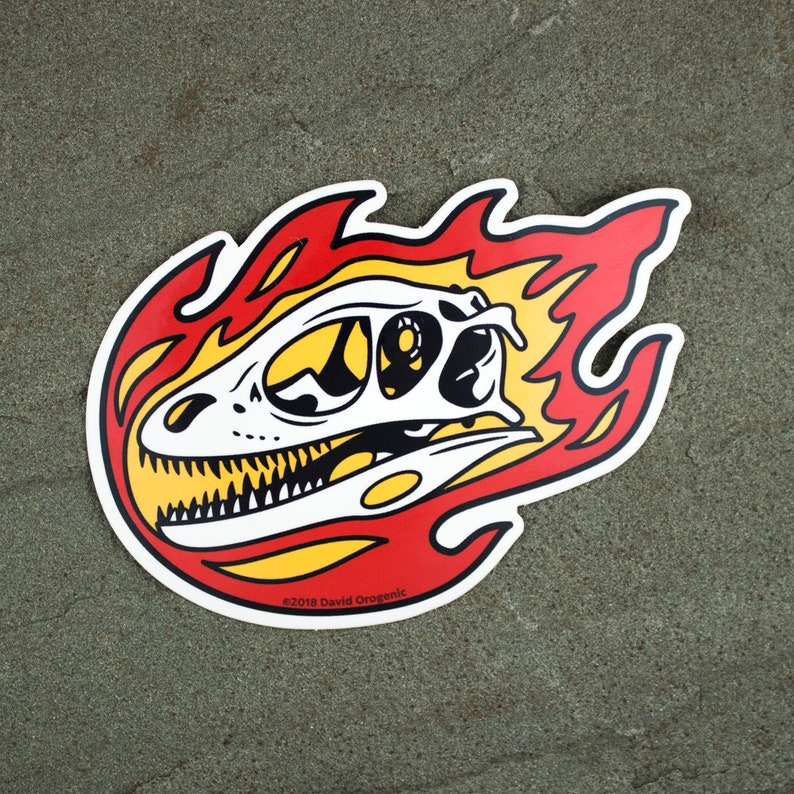 Deinonychus Flaming Dinosaur Skull Sticker  Raptor laptop image 0