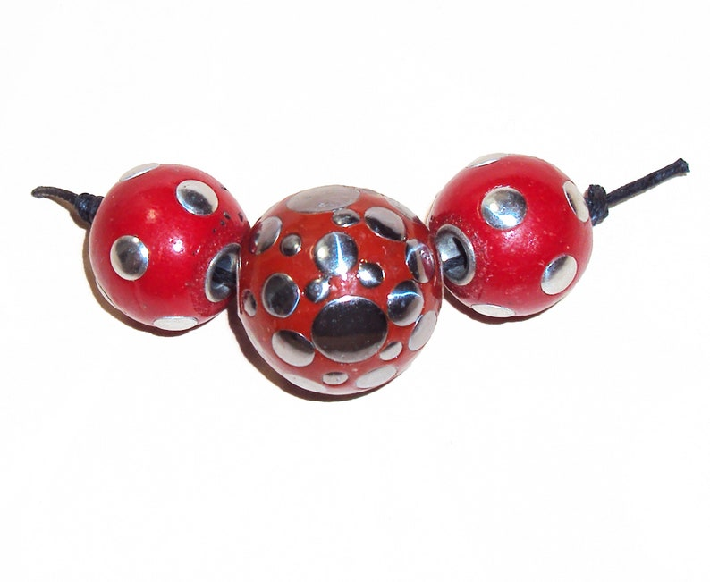 Indonesian Clay Kashmiri Large Round Metal Beads Red and Silver 3 Bead Strand