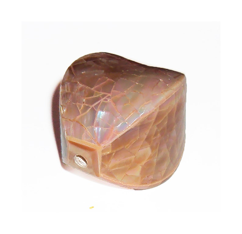 Large Focal Bead or Pendant Four Sided Polygon Abalone Shell Mosaic Inlay Bead Mother of Pearl