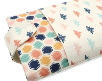 Bee Fabric Book Sleeve - Front Pocket, Two Sizes: Paperback & Hardback - A Great Book Cover For Yourself Or Book Lover Gift!