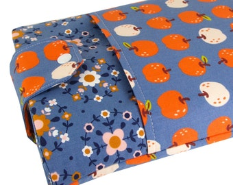 Apple Fabric Book Sleeve - Front Pocket, Two Sizes: Paperback & Hardback - A Great Book Cover For Yourself Or Book Lover Gift!