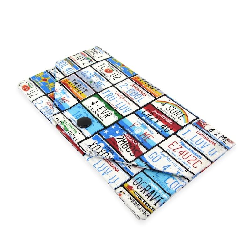 Cash Envelope Wallet - Women's Fabric Checkbook Cover - Lightweight, Slim  Design, State License Plate Fabric