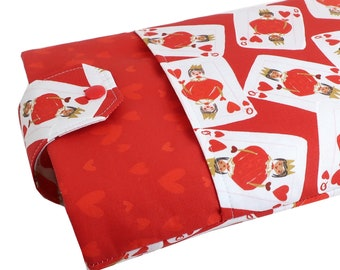 Queen Of Hearts Fabric Book Sleeve - Front Pocket, Two Sizes: Paperback & Hardback - A Great Book Cover For Yourself Or Book Lover Gift!