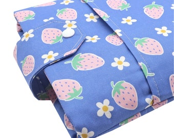 Strawberry Fabric Book Sleeve - Front Pocket, Two Sizes: Paperback & Hardback - A Great Book Cover For Yourself Or Book Lover Gift!