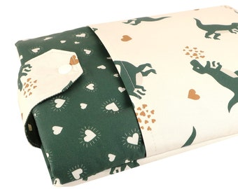 Dinosaur Book Fabric Book Sleeve - Front Pocket, Two Sizes: Paperback & Hardback - A Great Book Cover For Yourself Or Book Lover Gift!