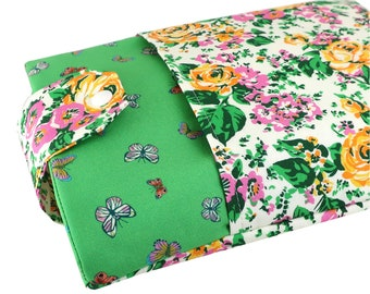 Floral Butterfly Fabric Book Sleeve - Front Pocket, Two Sizes: Paperback & Hardback - A Great Book Cover For Yourself Or Book Lover Gift!
