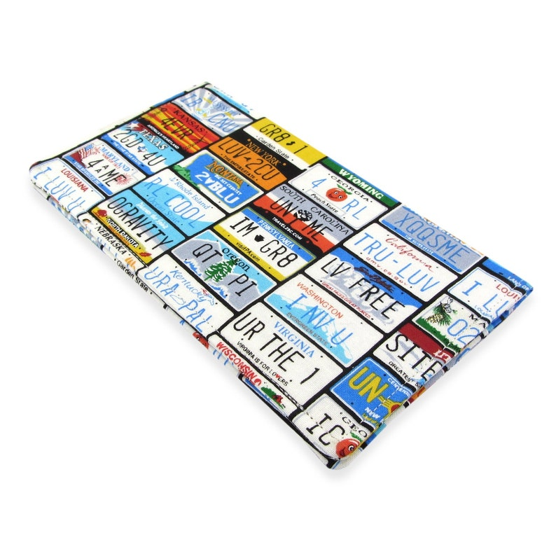 Checkbook Cover Wallet - Slim, Two Pocket Design Holds Cash And Checkbook -  State License Plate fabric