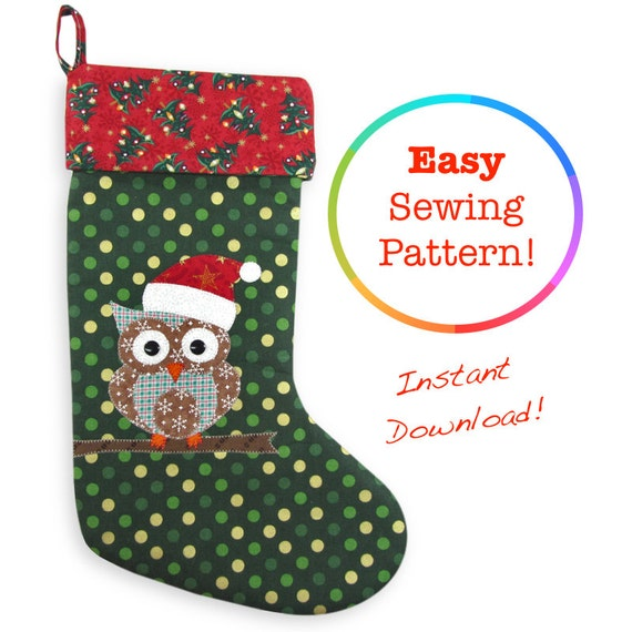 Owl Christmas Stocking Pattern Christmas Sewing Patterns Owl Etsy