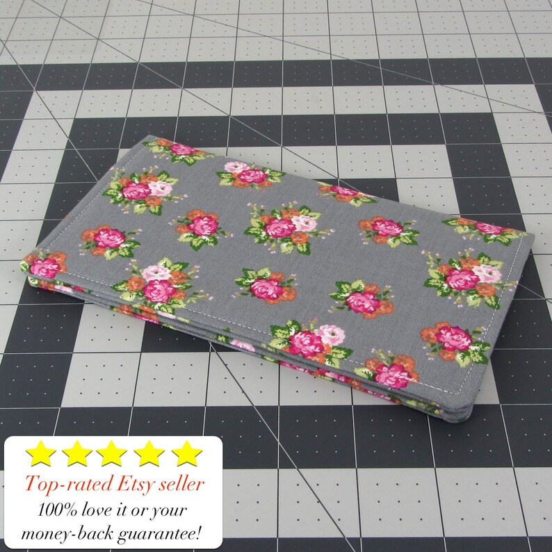 Two Pocket Design Holds Cash And Checkbook Gray Flower Fabric Women/'s Checkbook Cover Wallet Slim