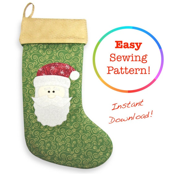 Christmas Stocking Pattern Christmas Sewing Patterns Santa Etsy Best Christmas Stocking Sewing Pattern