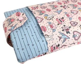 Heart Fabric Book Sleeve - Front Pocket, Two Sizes: Paperback & Hardback - A Great Book Cover For Yourself Or Book Lover Gift!