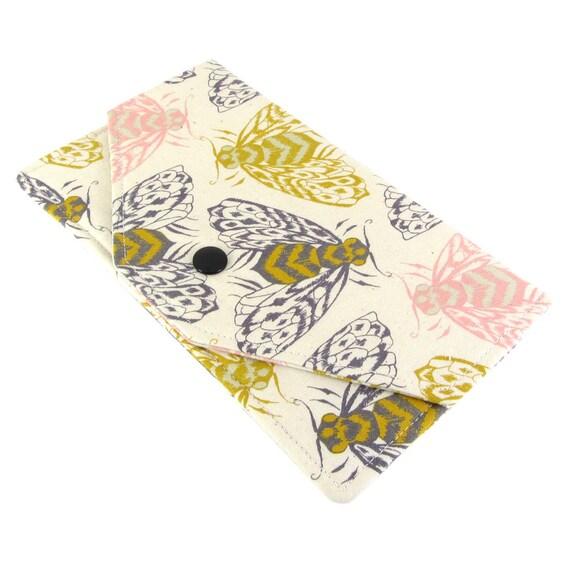 Argent enveloppe portefeuille - femmes le porte chéquier tissu - léger, mince, abeille lunatique impression