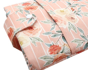 Pink Floral Fabric Book Sleeve - Front Pocket, Two Sizes: Paperback & Hardback - A Great Book Cover For Yourself Or Book Lover Gift!