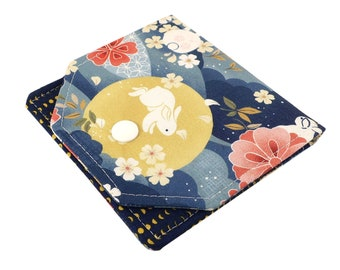 Small Women's Wallet Handcrafted From Moon Rabbit Fabric - Lightweight, Slim, Perfect for Travel - Holds Credit Cards And Cash
