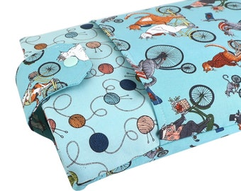 Cat Fabric Book Sleeve - Front Pocket, Two Sizes: Paperback & Hardback - A Great Book Cover For Yourself Or Book Lover Gift!