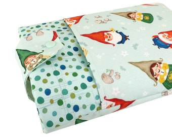 Gnome Book Fabric Book Sleeve - Front Pocket, Two Sizes: Paperback & Hardback - A Great Book Cover For Yourself Or Book Lover Gift!