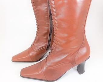 Vintage 80/'s 90/'s Women/'s Leather Heeled Long Calf Boots UK 4 EU 37 US 6