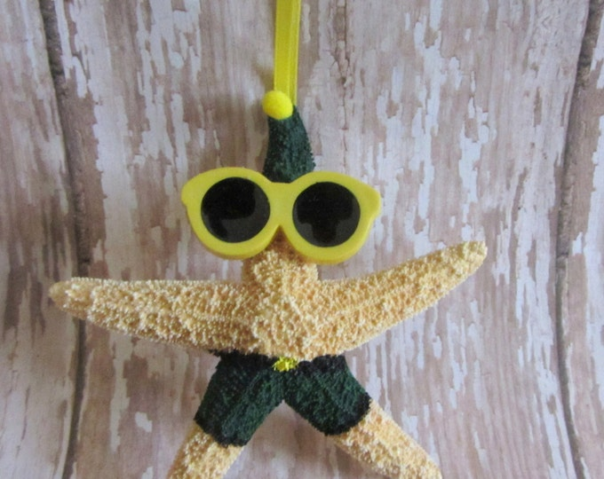 Beach Christmas Ornament - Beach Decor Starfish Christmas Ornament -  Elf Beach Ornament - Nautical Ornament