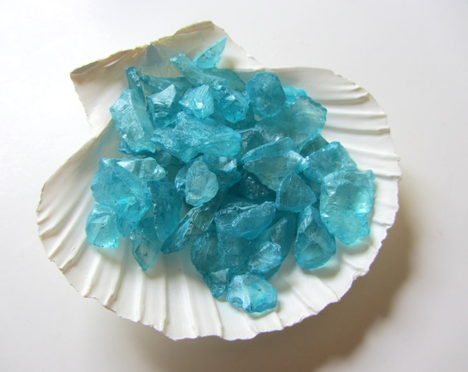 Beach Decor Turquoise Glass Gems Nautical Decor - 1 Cup