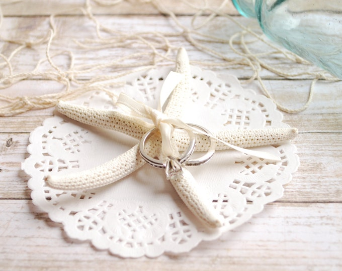 Beach Wedding Decorations - Starfish Ring Pillow Shell Ring Bearer Bridal Accessory