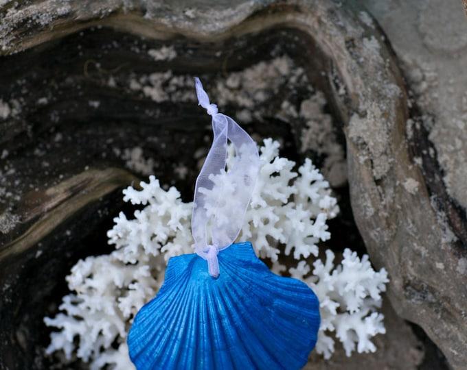 Beach Christmas Ornament - Beach Decor Scallop Shell Holiday Ornaments -  Set of 3 Metallic Blue Ornaments