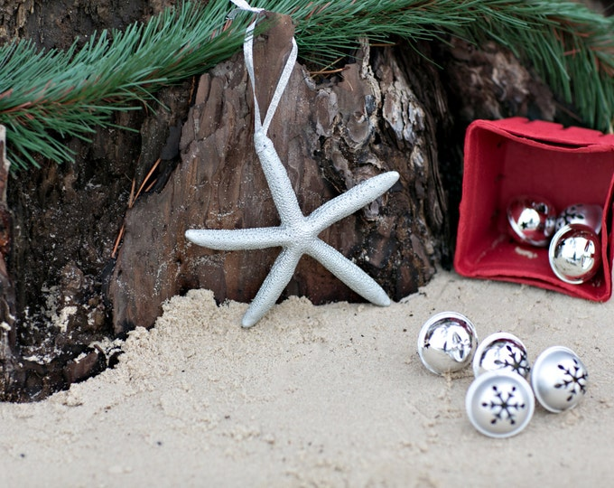 Beach Christmas Ornament - Beach Decor Silver Starfish Christmas Ornament - Set of 3  Starfish Ornaments REAL Starfish  Nautical Ornaments