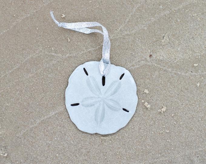 Beach Christmas Ornament - Beach Decor Silver Sand Dollar Christmas Ornament -  Nautical Ornament