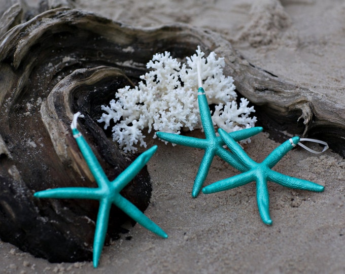 Beach Christmas Ornament - Beach Decor Turquoise Starfish Christmas Ornament - Set of 3 REAL Starfish  - Nautical Ornaments