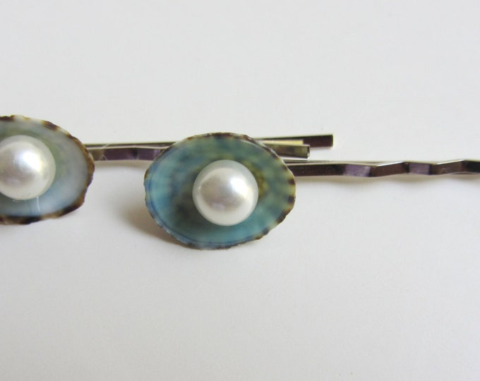 Beach Wedding Hair - Pearl and Limpet Shell Hair Pins - Something Blue - Small Hairpins - Seashell Hair Accessories - Mermaid Hair - 2 pins